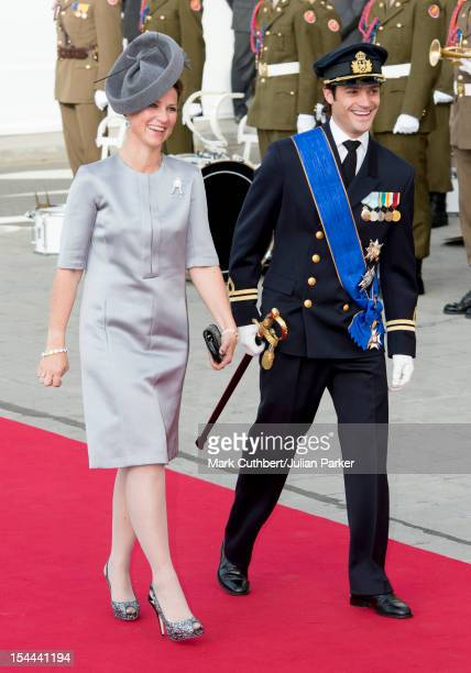 Prince Carl Philip of Sweden and Princess Martha Louise of Norway attend the wedding ceremony of Prince Guillaume Of Luxembourg and Stephanie de...