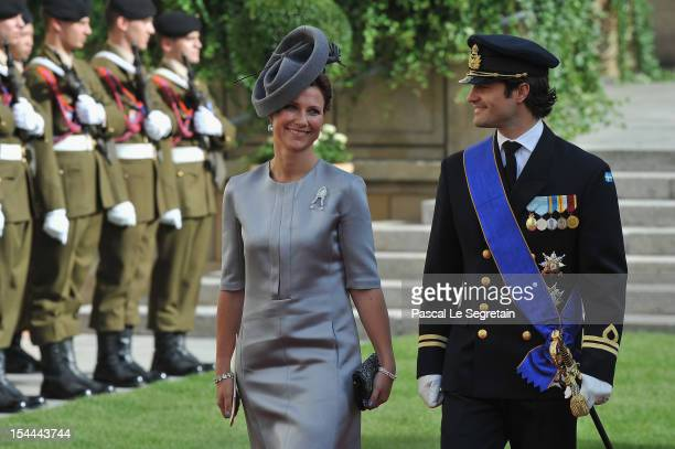 Prince Carl Philip of Sweden and Princess Martha Louise of Norway emerge from the Cathedral following the wedding ceremony of Prince Guillaume of...
