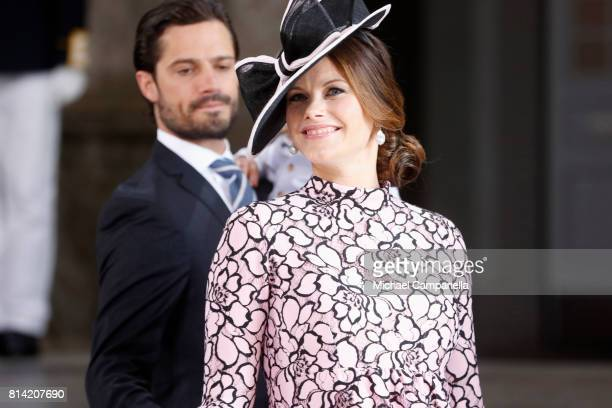 Prince Carl Philip of Sweden and Princess Sofia of Sweden arrive for a thanksgiving service on the occasion of The Crown Princess Victoria of...
