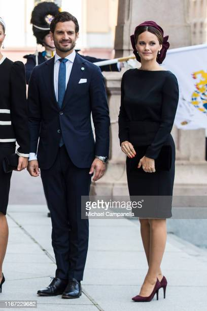 Prince Carl Philip of Sweden and Princess Sofia of Sweden pose for a picture upon arriving at the Swedish Parliament House for the opening of the new...