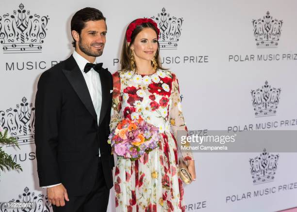 Prince Carl Philip of Sweden and Princess Sofia of Sweden pose on the red carpet during the 2019 Polar Music Prize award ceremony on June 11, 2019 in...