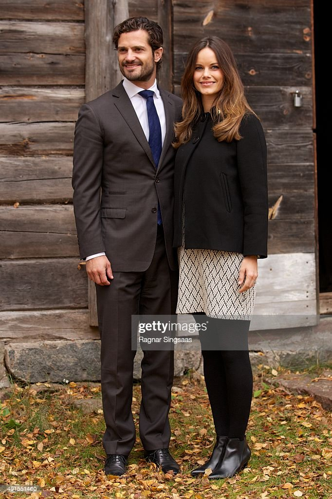 Prince Carl Philip of Sweden and Princess Sofia of Sweden visit the old stone porphyry during the second day of their trip to Dalarna on October 6, 2015 in Alvdalen, Sweden.
