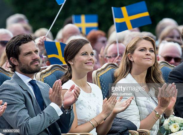 Prince Carl Philip of Sweden and Princess Sofia of Sweden with Princess Madeleine of Sweden attend a concert at the 38th birthday celebrations for...
