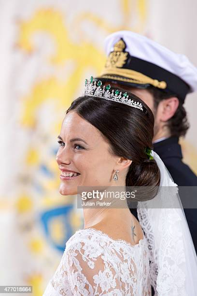 Prince Carl Philip of Sweden and Princess Sofia of Swedenleave their wedding ceremony at the Royal Chapel at the Royal Palace on June 13 2015 in...