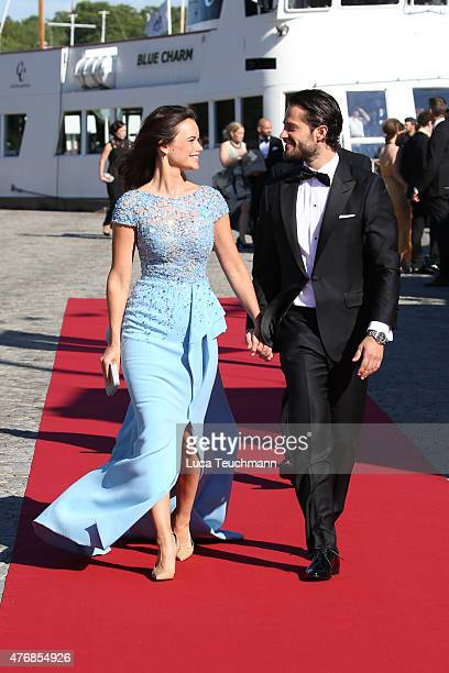 Prince Carl Philip of Sweden and Sofia Hellqvist arrive for the pre-wedding dinner for Prince Carl Philip of Sweden and Sofia Hellqvist on June 12,...