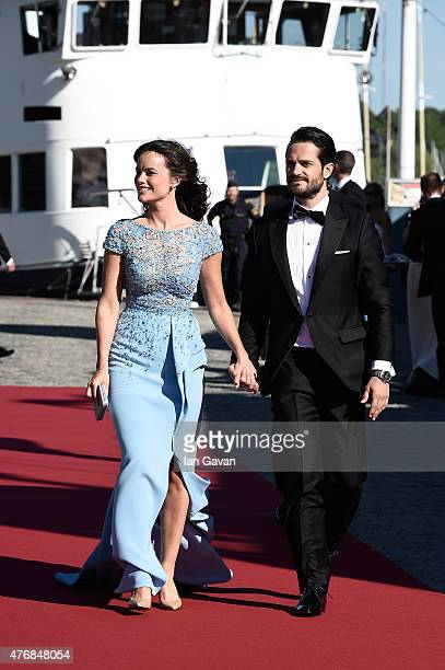 Prince Carl Philip of Sweden and Sofia Hellqvist arrive for their prewedding Dinner the night before their royal wedding on June 12 2015 in Stockholm...