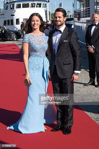 Prince Carl Philip of Sweden and Sofia Hellqvist arrive for their prewedding dinner on June 12 2015 in Stockholm Sweden