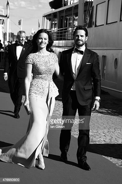 Prince Carl Philip of Sweden and Sofia Hellqvist arrive to board the SS Stockholm boat before the prewedding dinner the night before their royal...