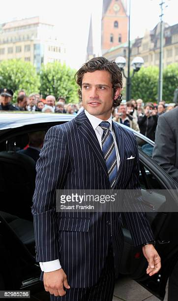 Prince Carl Philip Of Sweden arrives at the Rathaus during his visit to sign the golden book at Hamburg's Rathaus on September 24, 2008 in Hamburg,...