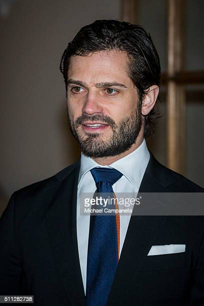 Prince Carl Philip of Sweden attends a formal gathering at the Royal Swedish Academy of Fine Arts on February 19, 2016 in Stockholm, Sweden.