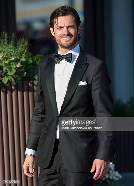 Prince Carl Philip of Sweden attends a private dinner on the eve of the wedding of Princess Madeleine and Christopher O'Neill hosted by King Carl XVI...