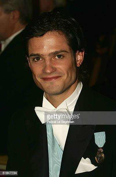 Prince Carl Philip of Sweden attends the Nobel Banquet at City Hall on December 10, 2004 in Stockholm, Sweden. The prizes were being awarded at...