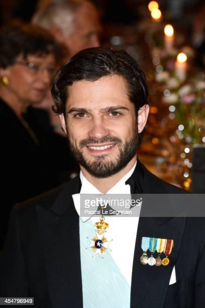 Prince Carl Philip of Sweden attends the Nobel Prize Banquet after the 2013 Nobel Prize Awards Ceremony at City Hall on December 10 2013 in Stockholm...