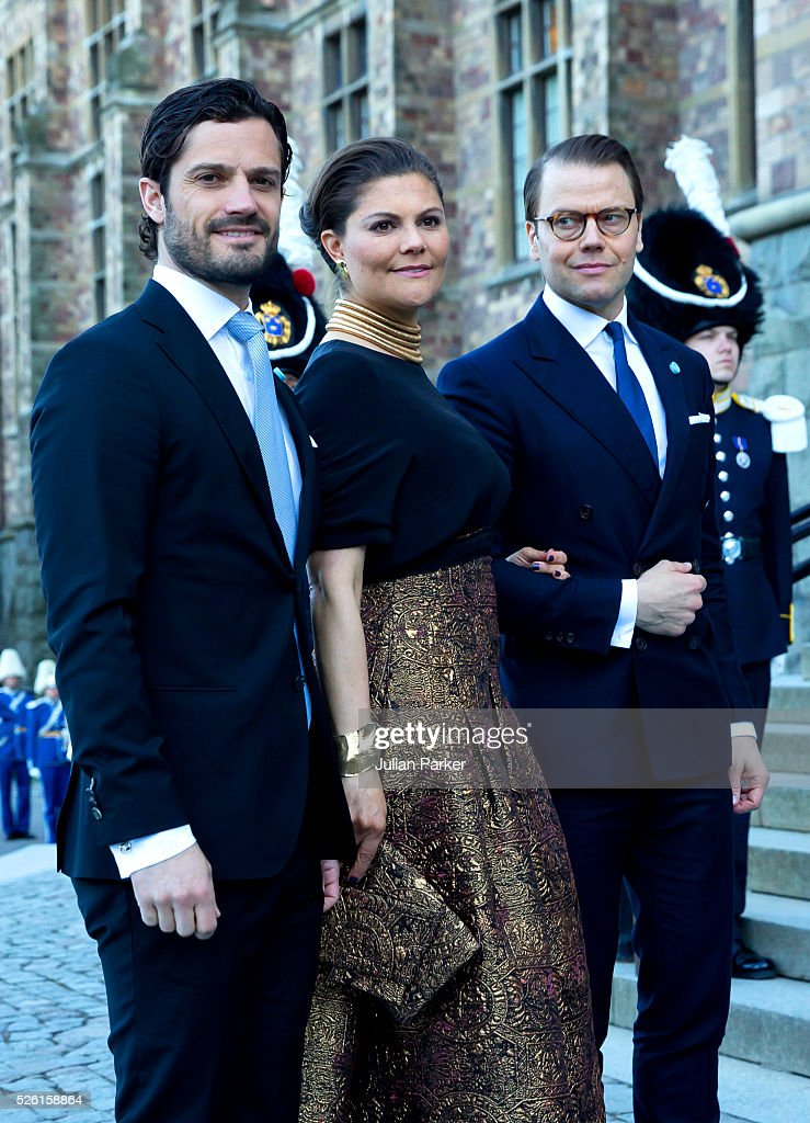 Prince Carl Philip of Sweden, Crown Princess Victoria of Sweden and Prince Daniel of Sweden, arrive for a Concert at the Nordic Museum, on the eve of King Carl Gustaf of Sweden's 70th Birthday, given by The Royal Swedish Opera, and The Stockholm Concert Hall, on April 29, 2016, in Stockholm, Sweden.