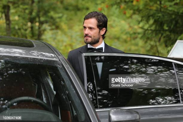 Prince Carl Philip of Sweden during the wedding of Prince Konstantin of Bavaria and Princess Deniz of Bavaria born Kaya at the french church 'Eglise...