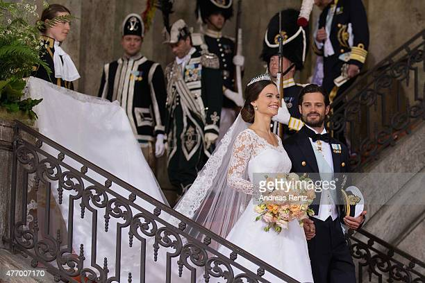 Prince Carl Philip of Sweden is seen with his new wife Princess Sofia of Sweden after their marriage ceremony at The Royal Palace on June 13 2015 in...