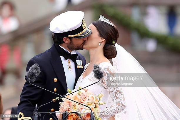 Prince Carl Philip of Sweden kisses his new wife Princess Sofia of Sweden after their marriage ceremony on June 13 2015 in Stockholm Sweden