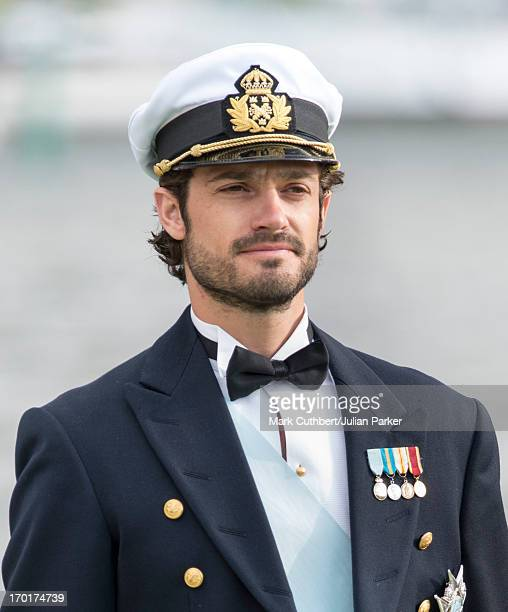 Prince Carl Philip of Sweden leaving for Drottningholm Palace after the wedding of Princess Madeleine of Sweden and Christopher O'Neill hosted by...