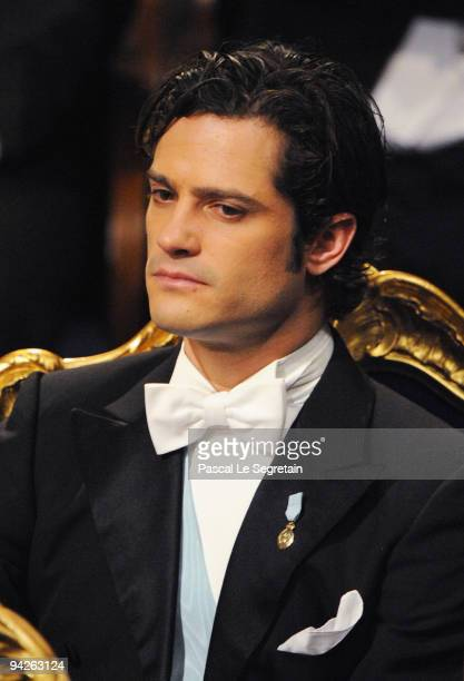 Prince Carl Philip of Sweden looks on during the Nobel Foundation Prize Awards Ceremony 2009 at the Concert Hall on December 10 2009 in Stockholm...