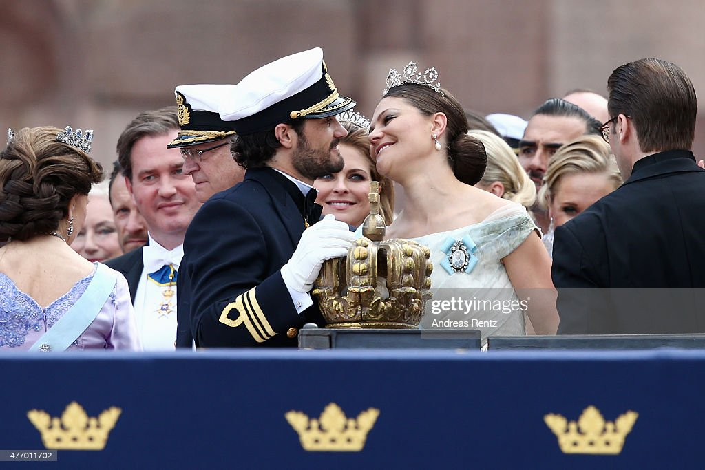 Prince Carl Philip of Sweden places one hand on the crown as he chats with his sister, Crown Princess Victoria of Sweden, after his marriage ceremony to Princess Sofia, at The Royal Palace on June 13, 2015 in Stockholm, Sweden. In 1980, Sweden became the first monarchy to change its succession rites so that the first-born child of the monarch is heir to the throne, regardless of gender.