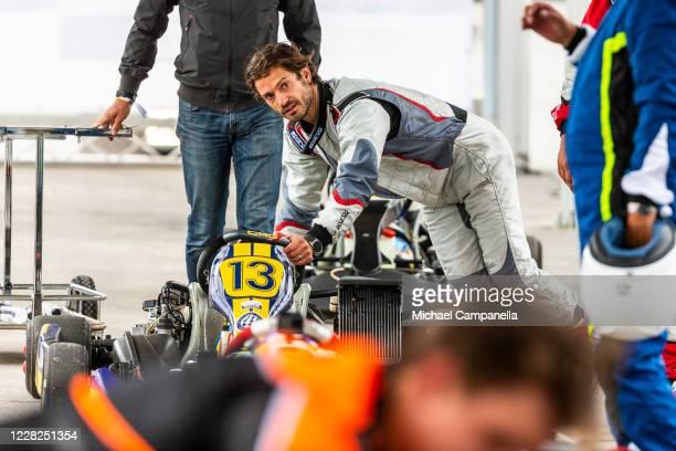 Prince Carl Philip of Sweden preparing his Go-Kart during the Prince Carl Philip Racing Trophy at GTR Motorpark on August 29, 2020 in Eskilstuna,...