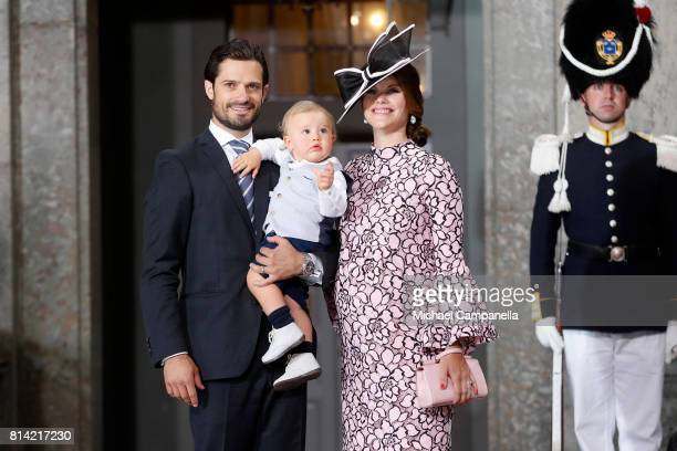 Prince Carl Philip of Sweden, Prince Alexander of Sweden and Princess Sofia of Sweden depart after a thanksgiving service on the occasion of The...