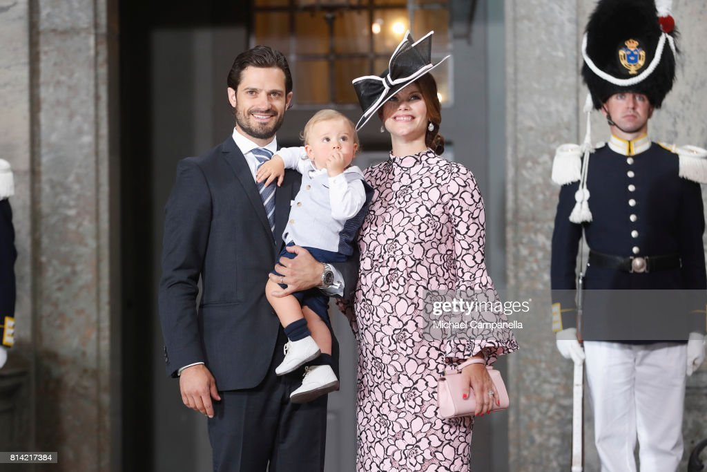 Prince Carl Philip of Sweden, Prince Alexander of Sweden and Princess Sofia of Sweden depart after a thanksgiving service on the occasion of The Crown Princess Victoria of Sweden's 40th birthday celebrations at the Royal Palace on July 14, 2017 in Stockholm, Sweden. The celebrations in Stockholm end with the Crown Princess Family being escorted from the Royal Palace to the Royal Stables in a horse drawn carriage.