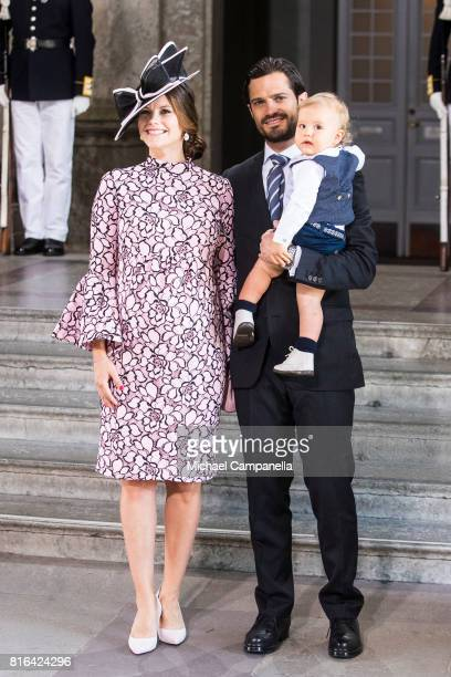 Prince Carl Philip of Sweden, Prince Alexander of Sweden and Princess Sofia of Sweden arrive for a thanksgiving service on the occasion of The Crown...