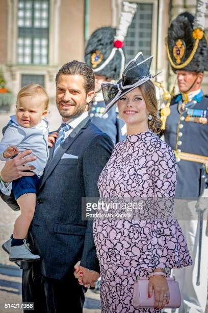 Prince Carl Philip of Sweden Princess Sofia of Sweden and Prince Alexander of Sweden arrive for a thanksgiving service on the occasion of The Crown...