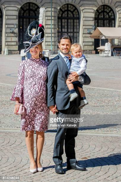 Prince Carl Philip of Sweden Princess Sofia of Sweden and Prince Alexander of Sweden after the thanksgiving service on the occasion of The Crown...