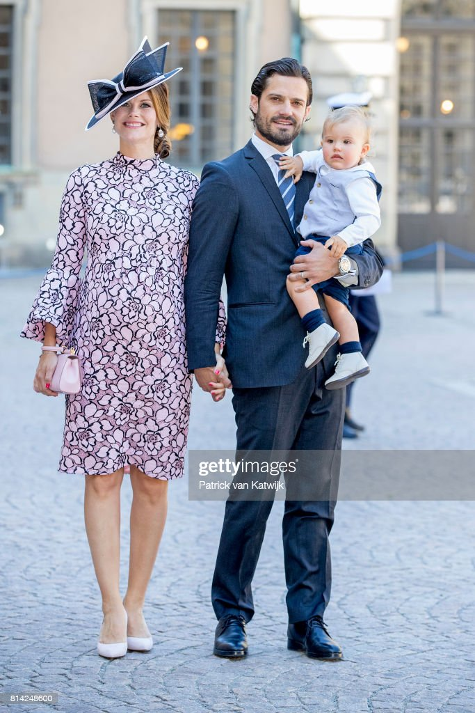 Prince Carl Philip of Sweden (C), Princess Sofia of Sweden and Prince Alexander of Sweden after the thanksgiving service on the occasion of The Crown Princess Victoria of Sweden's 40th birthday celebrations at the Royal Palace on July 14, 2017 in Stockholm, Sweden.