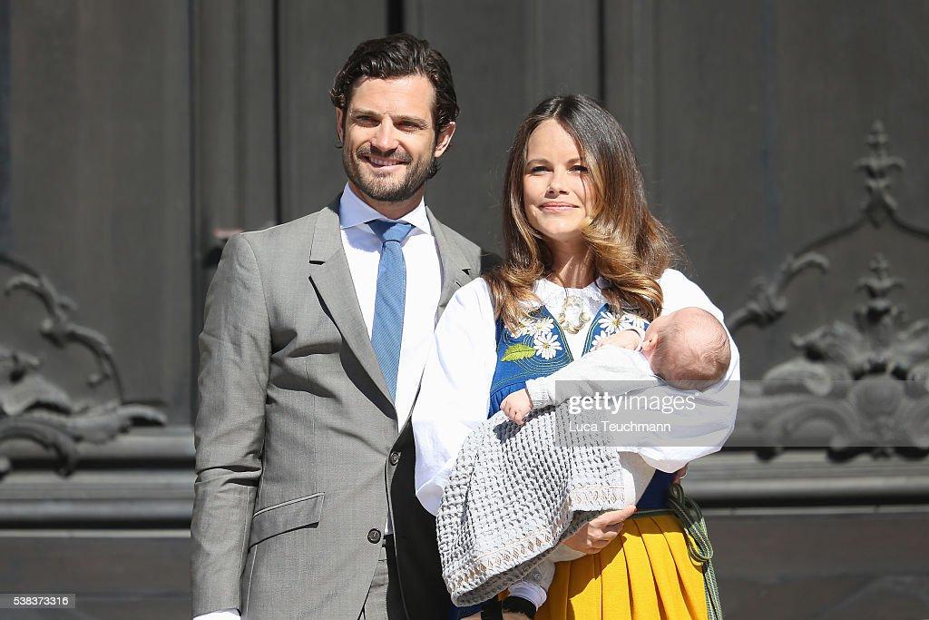 Prince Carl Philip of Sweden, Princess Sofia of Sweden and son Prince Alexander of Sweden attend the National Day Celebrations on June 6, 2016 in Stockholm, Sweden.