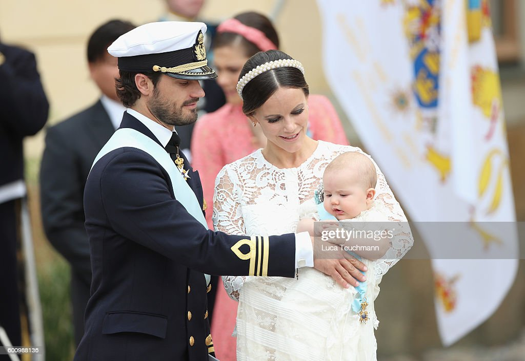 Prince Carl Philip of Sweden, Princess Sofia of Sweden and their son Prince Alexander attend the christening of Prince Alexander of Sweden at Drottningholm Palace Chapel on September 9, 2016 in Stockholm, Sweden.