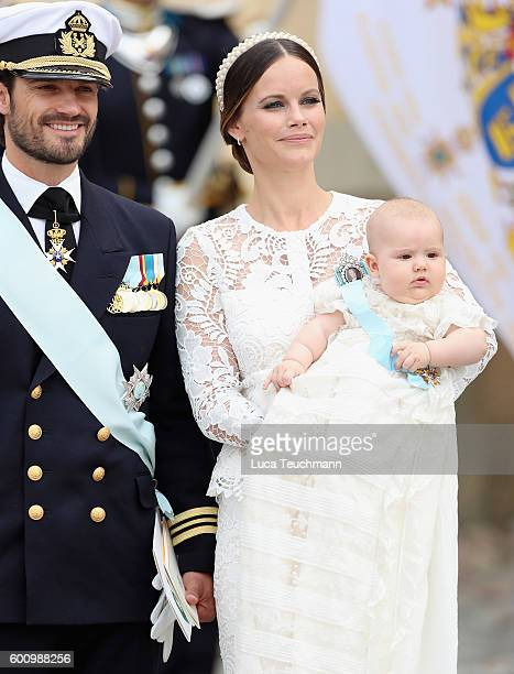 Prince Carl Philip of Sweden Princess Sofia of Sweden and their son Prince Alexander attend the christening of Prince Alexander of Sweden at...