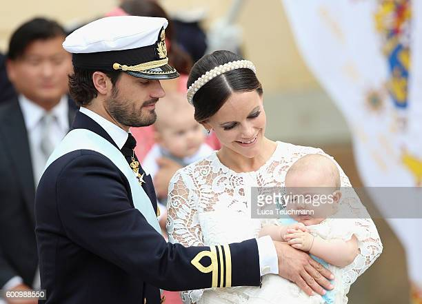 Prince Carl Philip of Sweden, Princess Sofia of Sweden and their son Prince Alexander attend the christening of Prince Alexander of Sweden at...
