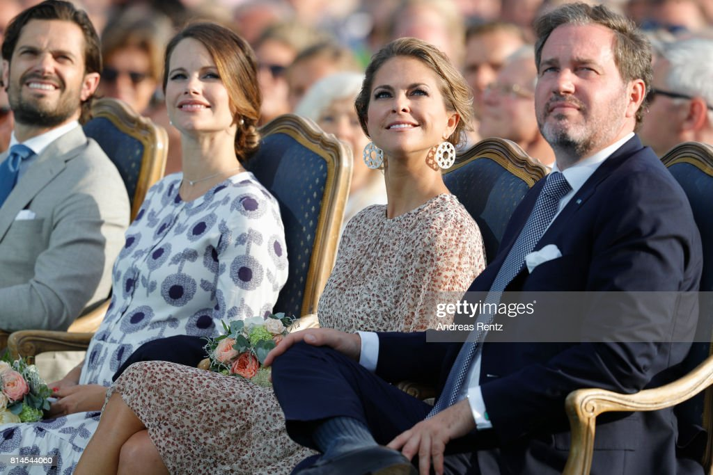 Prince Carl Philip of Sweden, Princess Sofia of Sweden, Princess Madeleine of Sweden and Christopher O'Neill attend the celebrations of Crown Princess Victoria of Sweden's 40th birthday at Borgholm IP on July 14, 2017 in Borgholm, Sweden.
