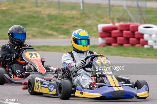 Prince Carl Philip of Sweden races in the DD2 Masters Class in the Lidkoping Open carting competition on August 04, 2019 at Lidkoping Motorstadion in...