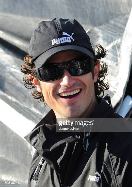 Prince Carl Philip of Sweden smiles on board the Puma Ocean Racing powered by BERG Propulsion yacht skippered by Ken Read of Canada during the first...
