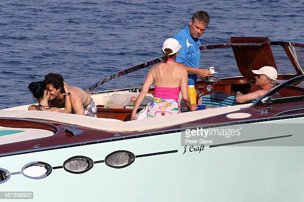 Prince Carl Philip of Sweden Sofia Hellqvist Queen Silvia of Sweden and King Carl Gustaf of Sweden are seen on the Sweedish Royal family speedboat on...