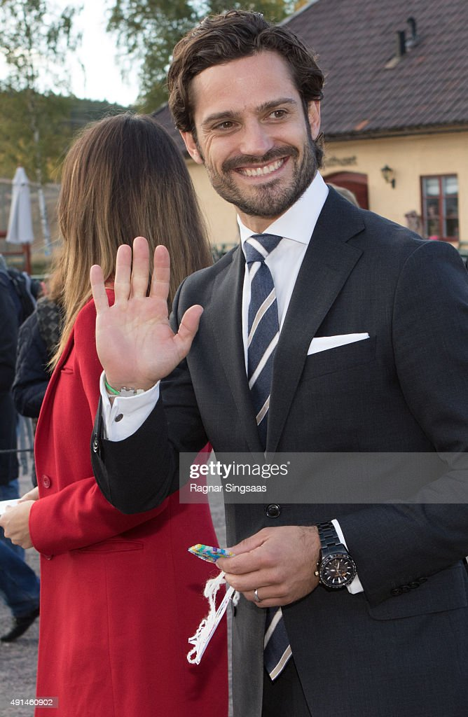 Prince Carl Philip of Sweden visits the Falun Mine world heritage site during the first day of a two day trip to Dalarna on October 5, 2015 in Falun, Sweden.