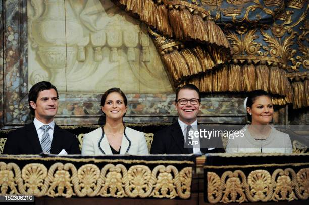 Prince Carl Philip Princess Madeleine Prince Daniel and Crown Princess Victoria look on during service at Storkyrkan in Stockholm on September 18...