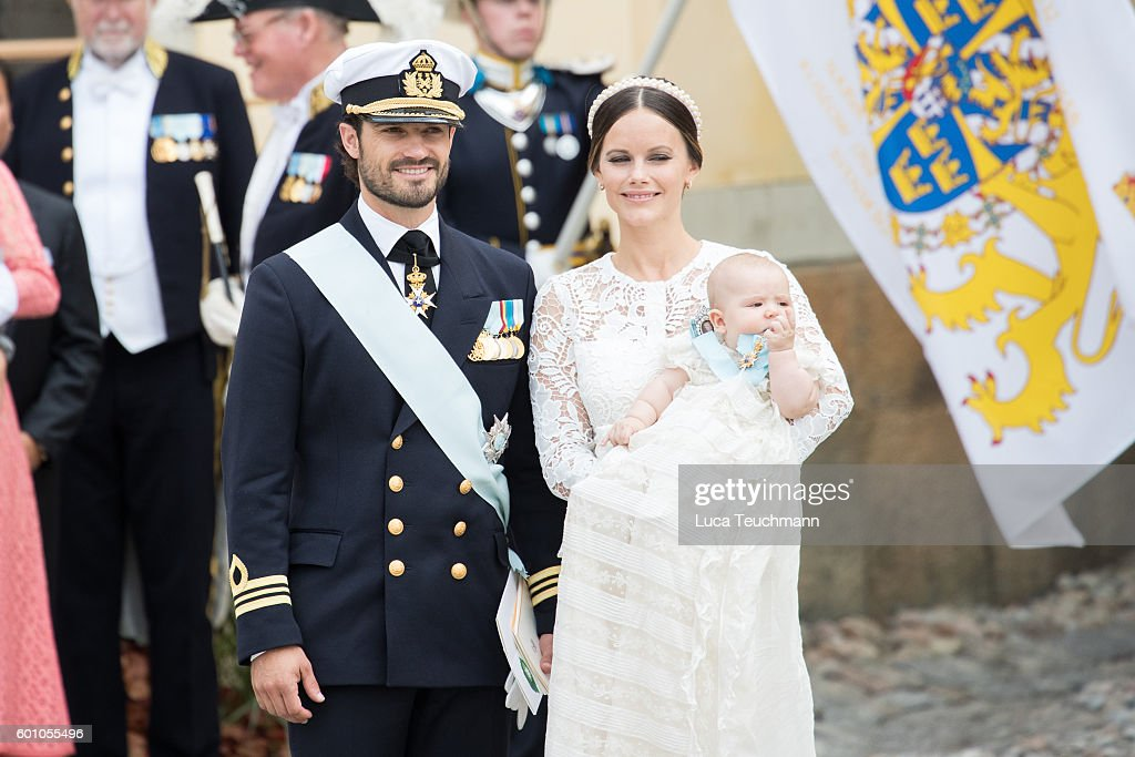 Prince Carl Philip, Princess Sofia and Prince Alexander attend the christening of Prince Alexander of Sweden at Drottningholm Palace Chapel on September 9, 2016 in Stockholm, Sweden.