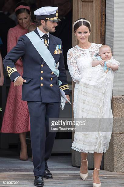 Prince Carl Philip Princess Sofia and Prince Alexander attend the christening of Prince Alexander of Sweden at Drottningholm Palace Chapel on...