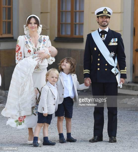 Prince Carl Philip, Princess Sofia, Prince Alexander, Prince Gabriel and Prince Julian attend Prince Julian's baptism outside Drottningholm Castle...