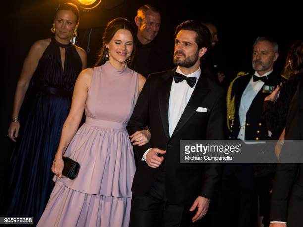 Prince Carl Philip the Duke of Varmland and Princess Sofia of Sweden the Duchess of Varmland walk the red carpet when arriving at Idrottsgalan, the...