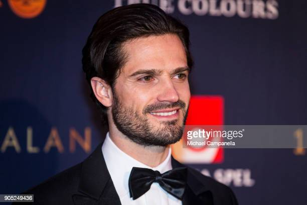 Prince Carl Philip the Duke of Varmland walks the red carpet when arriving at Idrottsgalan the annual Swedish sports awards gala held at the Ericsson...