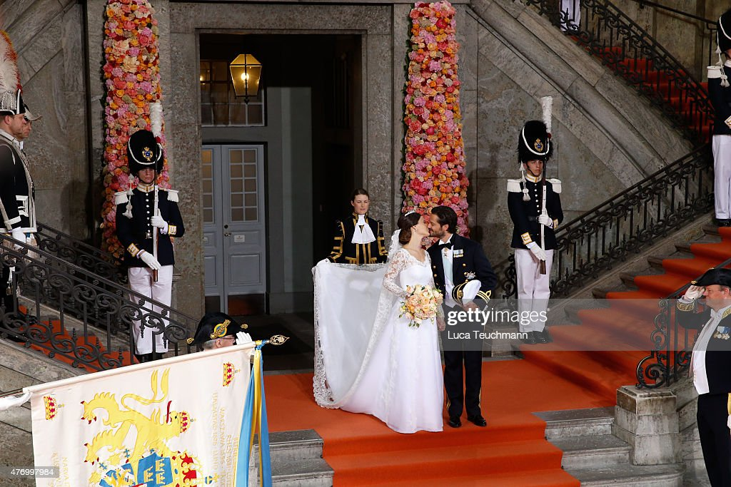 Prince Carl Philip and Princess Sofia Of Sweden depart the Royal Palace Chapel on June 13, 2015 in Stockholm, Sweden.