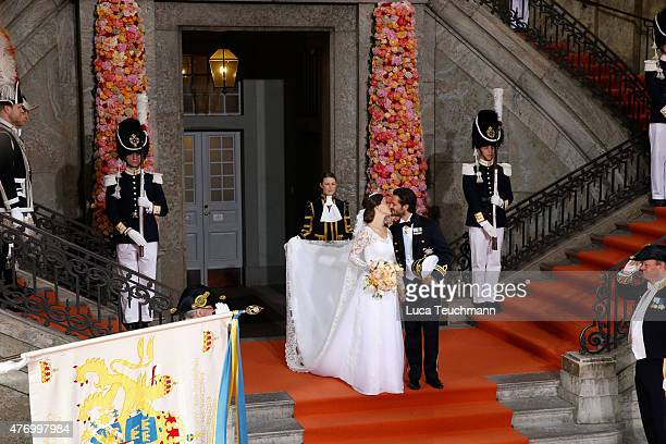 Prince Carl Philip and Princess Sofia Of Sweden depart the Royal Palace Chapel on June 13 2015 in Stockholm Sweden