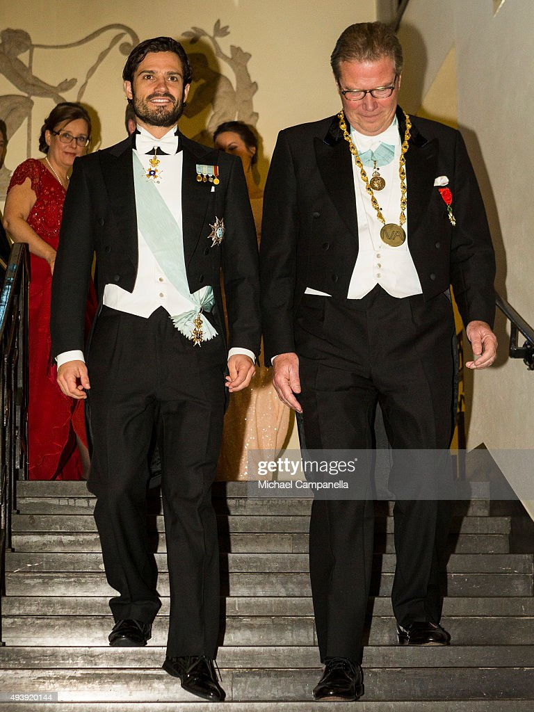Prince Carl Phillip and IVA's CEO Leif Johansson attend The Royal Swedish Academy of Engineering Sciences' Formal Gathering on October 23rd, 2015 in Stockholm, Sweden.