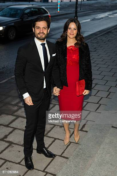 Prince Carl Phillip and Princess Sofia of Sweden arrive at the Royal Swedish Academy of Fine Arts' formal gathering on February 19, 2016 in...